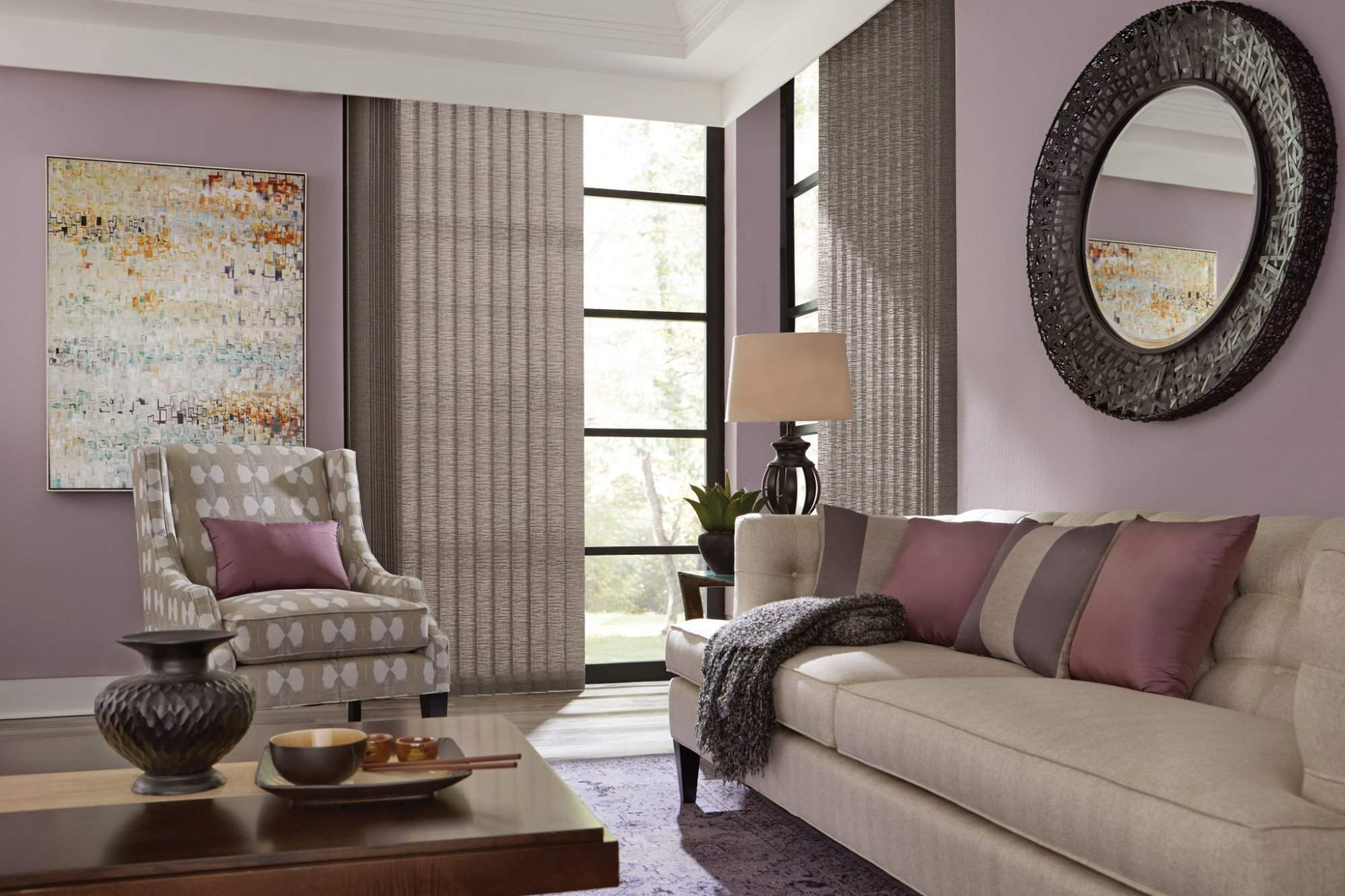 Fabric Vertical Blind with Cord and Chain Control Urban, Loft Rooftop