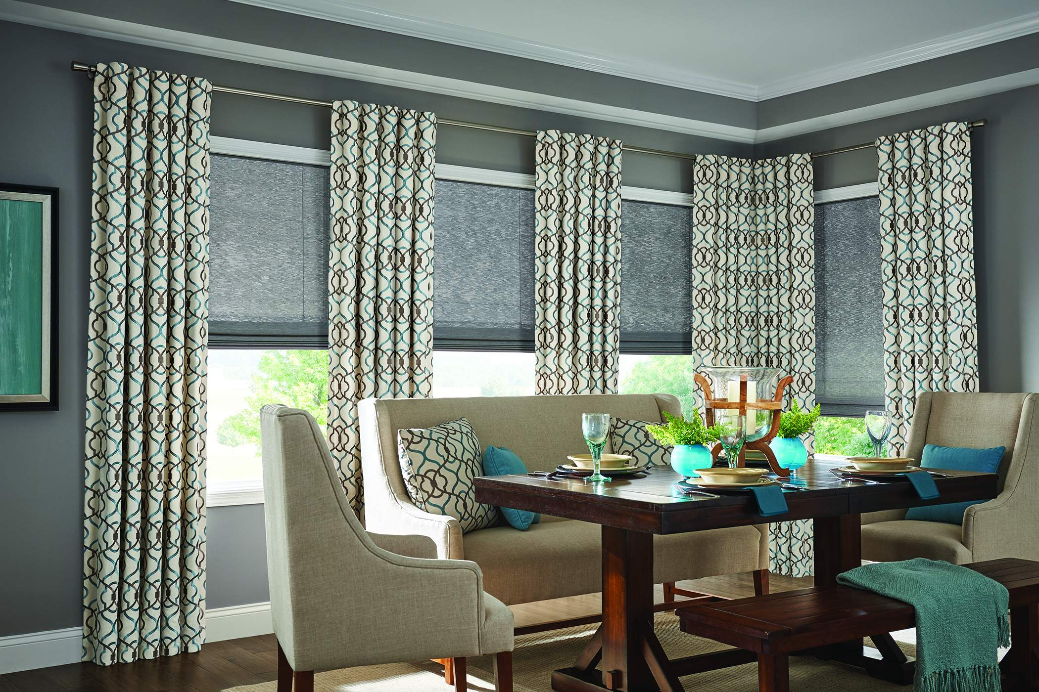 Old style roman shades with back tab panels