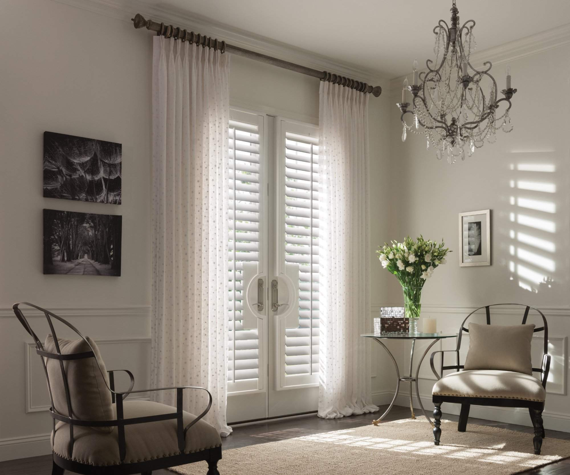 Wood Shutters Snow White. Drapery with Pinch Pleat Diamante, Crystal.