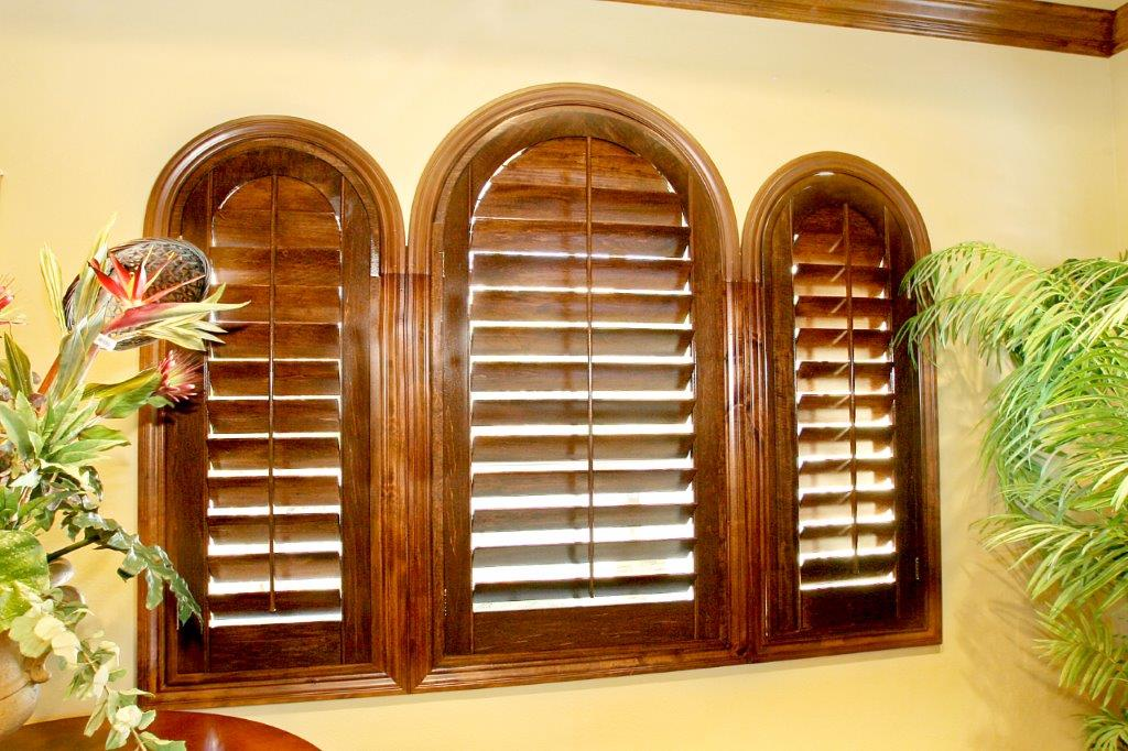 wood stain arch shutters
